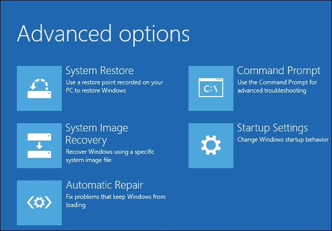 Chọn Command Promp System recovery Windows 10
