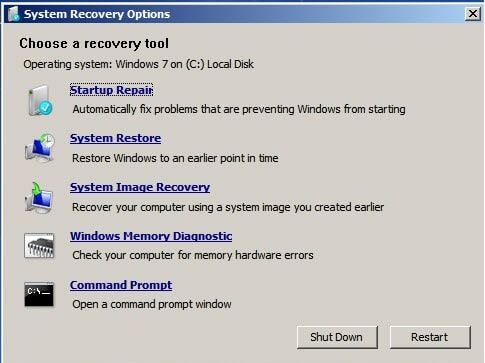 Chọn Command Promp System recovery Windows 7